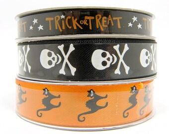 3/4 inch Halloween Ribbon - Skull and Crossbones Ribbon or Scary Black Cat Ribbon, 3 yard roll Black and Orange Ribbon