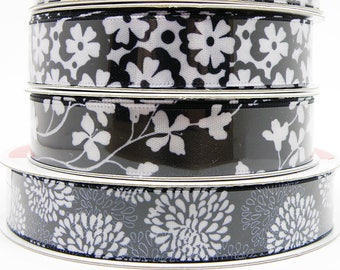 5/8 in Black and White Floral Ribbon, Black Floral Ribbon, Chrysanthemum Ribbon, Black Ribbon with White Flowers, Mums, 3 yards