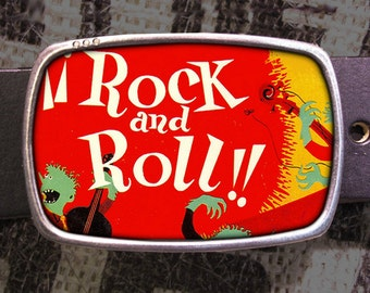578 * rock n/'roll music Belt Buckle Boucle de ceinture LP single design rockabilly