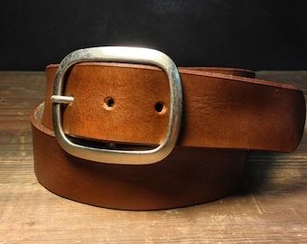 Brown Leather Belt with Silver Buckle Handmade in USA Groomsmen Wedding Gift - Full Grain Unisex Belt