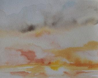 California Dreamin' Original Watercolor Paintng Ocean Sunset,  Beach art watercolor painting, coastal art