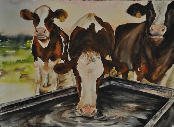 Cow Painting Farm Dairy Painting Farm Life Art Original Cattle Cow Painting Western Decor Cowboy Ranch Painting
