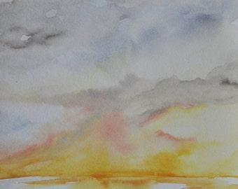 Ocean Sunset Beach art watercolor painting, coastal art