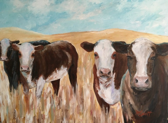 Cow Painting Western Cattle Painting Western Decor Cowboy Ranch Painting Farm Life Original Art