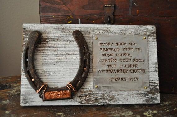 bois fer  u00e0 cheval avec prenom et date de naissance cowboy
