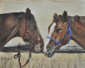 Western Decor, Equestrian Art, Horses Painting Western Art, Cowboy Ranch art,  Roping Horses print