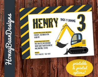 PRINTABLE Digger Excavator Invitation Birthday Construction Party
