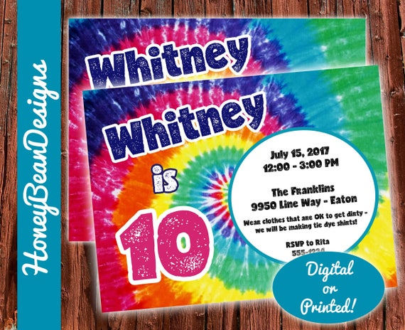printable tie dye birthday invitation colorful rainbow etsy