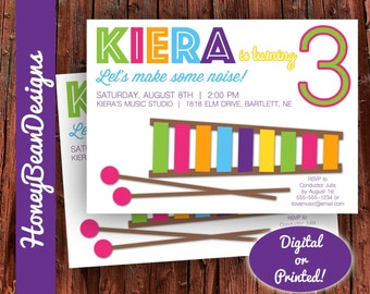 PRINTABLE Music Xylophone Band Birthday Invitation Girl or Boy Musical Instruments Drums