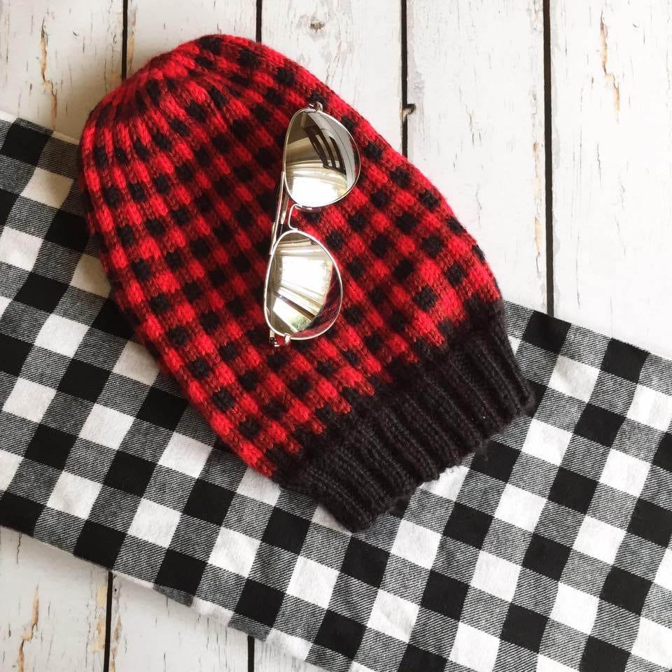 Knit Buffalo Plaid Hat Pattern Pdf Knitting Pattern Hat Etsy