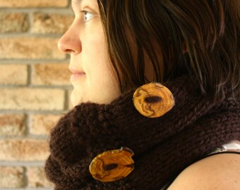 Chunky Cowl Infinity Scarf Unisex Cowl Hood Knit Brown Cowl Wooden Buttons