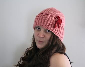 Knit Pink Hat Cloche Cap Salmon Pink Lady Edith Crawley Downton Abbey Women's Fashion Accessories