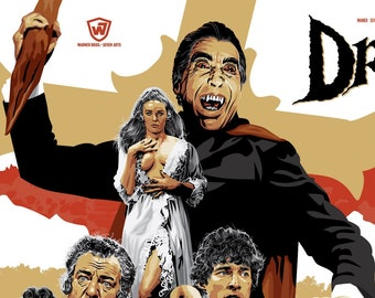 """House of Hammer - Dracula Has Risen from the Grave - Unofficial Fan Art - 17 x 11"""" Film Poster"""