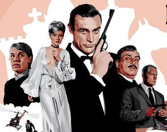 "James Bond 007 - From Russia With Love - Fan Art - 17 x 11"" Digital Print"