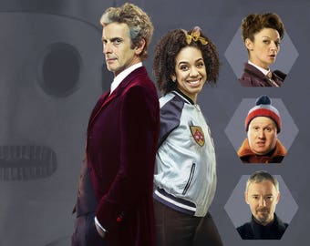 "Doctor Who - Fan Art - Peter Capaldi as the 12th Doctor with Bill Potts, Missy, Nardole and the Master - 18 x 12"" Digital Print"