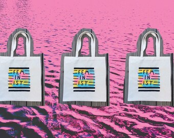 Feminist Hand-Painted Tote Bag