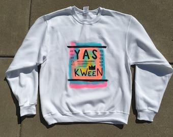 Yas Kween Hand-Painted Crew Neck Sweatshirt