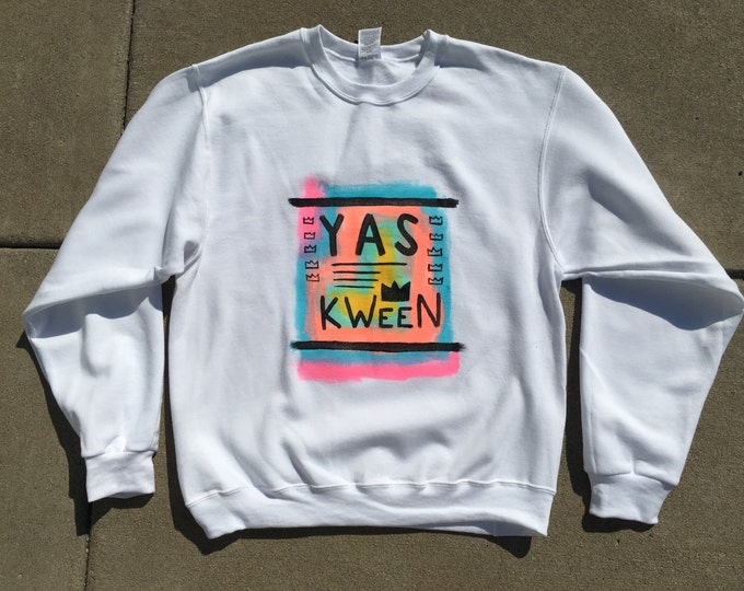 Yas Kween Hand-Painted Crew Neck Sweatshirt