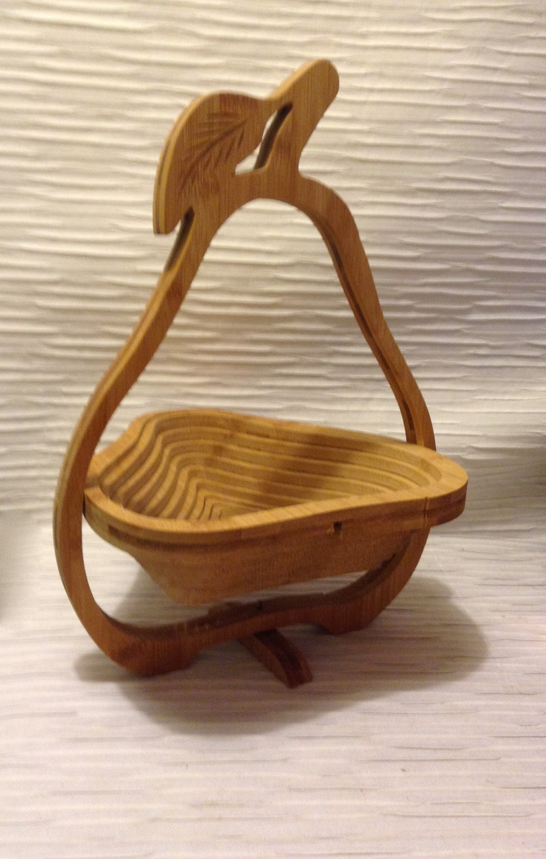 Folding Collapsible Wood Bowl Pear Shape 1970 Vintage Modernist Mod Mid Century Danish Modern Eames Era
