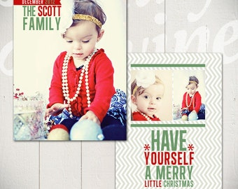 Christmas Card Template: Deck The Halls D - 5x7 Holiday Card Template for Photographers