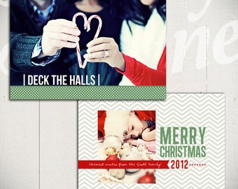 Christmas Card Template: Deck The Halls B - 5x7 Holiday Card Template for Photographers