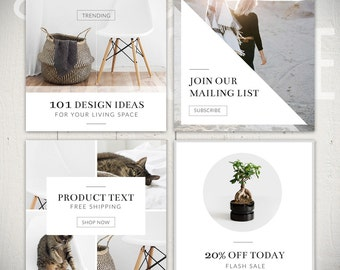 Instagram Template Pack: Luminous - 8 Square Social Media Templates