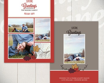 Fall Card Template: Thankful Holiday B - 5x7 Holiday Card Template for Photographers