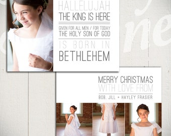 Christmas Card Template: Born in Bethlehem A - 5x7 Holiday Card Template for Photographers