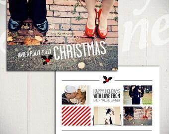 Holiday Card Template: Holly Jolly Christmas A - 5x7 Christmas Card Template