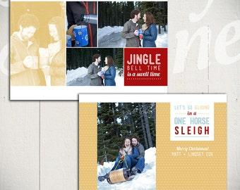 Holiday Card Template: Jingle Bell Rock B - Christmas Card 5x7 Template