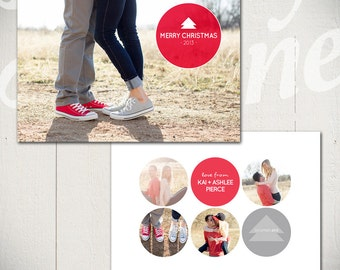 Christmas Card Template: Snowball Fight A - 5x7 Holiday Card Template for Photographers