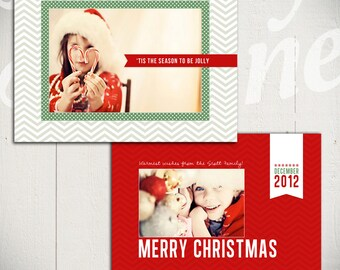 Christmas Card Template: Deck The Halls A - 5x7 Holiday Card Template for Photographers