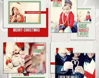 Christmas Card Templates: Deck The Halls - Set of Four Holiday Card Template for Photographers