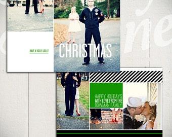 Holiday Card Template: Holly Jolly Christmas B - 5x7 Christmas Card Template