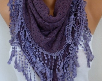 Purple Knitted Triangle Scarf,Shawl Cowl Lace Oversize Bridesmaid Bridal Accessories Gift For Her Women Fashion Accessories,Mother Gift