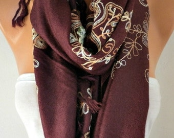 Burgundy Embroidered Scarf,Wedding Shawl, Cowl, Bridesmaid gift, Gift Ideas For Her, Women Fashion Accessories, Women Scarves, Birthday Gift