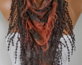Brown & Orange Butterfly Scarf, Halloween,Summer Scarf, Fringe Scarf Cowl, Gift Ideas For Her Women's Fashion Accessories, best selling item