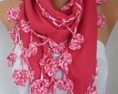 Red Pashmina crochet Floral Scarf handmade Scarf Shawl Cowl Scarf Bridesmaid Gift Gift Ideas For Her Women Fashion Accessories