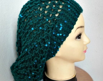b5fc8c764f8 Emerald Green Slouchy Beanie Knit Hat with sequin