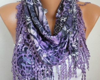 ON SALE - Purple Leopard Scarf,Fall Scarf Animal Scarf,Cowl Scarf with Lace Edge Gift Ideas For Women Fashion Accessories - fatwoman