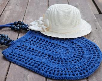 Royal Blue Crochet cotton bag,filet tote bag,handmade crochet handbag,beach bag,Summer bag with wooden handles,bohemian Gift idea,birthday