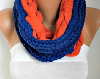 Navy Blue & Red Cable Knitted Infinity Scarf Winter Scarf Circle Loop Tube Scarf Gift Ideas For Her Women's Fashion Accessories Christmas
