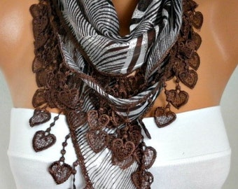 Brown Heart Zebra cotton Scarf,summer Scarf,gift for her  best selling item scarf