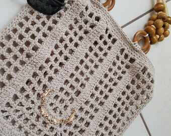 Stone Crochet cotton bag,Filet tote bag,handmade crochet handbag,beach bag,Summer bag with wooden handles,bohemian Gift idea,shopping bag