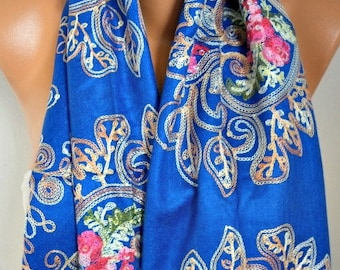 Royal Blue Embroidered Scarf Wedding Shaw,Bridal Scarf, Bohemian, Women Fashion Accessories Gift Ideas For Her Scarves Best selling item