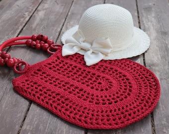 Red Crochet cotton bag,Filet tote bag,handmade crochet handbag,beach bag,Summer bag with wooden handles,bohemian Gift idea,shopping bag