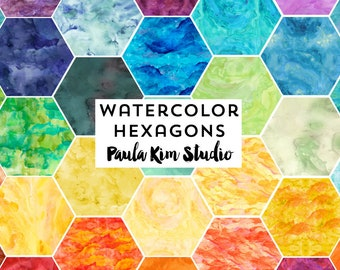 Watercolor Hexagon Clip Art Instant Download Commercial Use Clipart