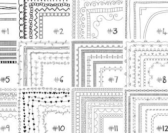Doodle Borders and Frames, Sale Bundle - 12 Full Sets, Instant Download, Commercial Use