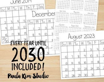 Printable Calendars 2019-2030 Instant Digital Download Images for Commercial Use and Personal Planners