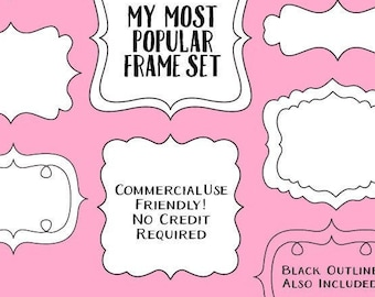 Doodle Frames Clip Art, Clip Art Commercial Use, Border Clipart, Doodle Clipart, Frame Clipart, Doodle Frame, Cute Border, Commercial Use